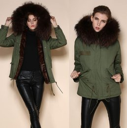 Wholesale Long Parka Canada - 2016 New Warm Women Winter Outwear Brown Ladies Faux Fur Parka Hooded Mrs Jacket Army Coat