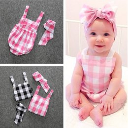 Bandeaux À Carreaux En Gros Pas Cher-WHOLESALE -Baby Rompers and Headbands Infant Girl Newborn Vêtements pour bébés Plaid Cotton Suspenders sans manches Rompers Suits Coverall