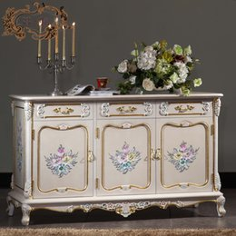 Chinese  italian french antique furniture - baroque handcraft cracking paint floor cabinet manufacturers