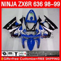 Kawasaki Body Kit Zx6r 1999 NZ - glossy blue 8gifts Body For KAWASAKI NINJA ZX6R 98 99 ZX636 600CC ZX600 28NO63 ZX 6R 1998 1999 ZX 636 ZX-6R 98-99 Fairing TOP blue black Kit