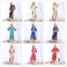Wholesale Silk Kimono Robes Canada - Silk Satin Kimono Robes Women Wedding  Bridal Long Robe Bathrobe 09954544c