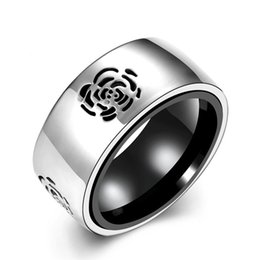 Stainless Steel Finger Rings Wholesale Canada - Punk Rock Finger Rings Stainless Steel Ring Rose Pattern Chic Hip Hop Rings Fashion Jewelry Brand Rings For Women