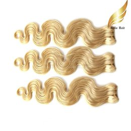 China 100% Virgin HUMAN Hair Extensions Double Weft Blond Hair Weaves #613 Mixd Lengths Body Wave 3pcs lot DHL Bellahair cheap blond human hair suppliers