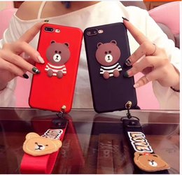 $enCountryForm.capitalKeyWord Canada - Phone Cases for 5 6 7 Plus 8 8 plus Cartoon Bear Cellphone Cover with Strap Fashion Mobile Accessories For Lover case Christmas Gift New