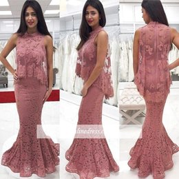 $enCountryForm.capitalKeyWord Australia - Dusty Pink Two Pieces Prom Dresses 2018 New Arrival Full Lace Mermaid Prom Gowns With High Neck Tulle Wrap Formal Long Evening Gowns