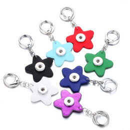 Discount star snap buttons jewelry - Noosa 18mm Starfish PU Leather Snap Button Keychain key rings Fashion Star Key chain Keyrings Accessories Jewelry