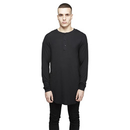 oversized long t shirts UK - autumn Long sleeve t shirt Extended buttons neck t shirt Sport Hip hop Oversized t shirt Streetwear