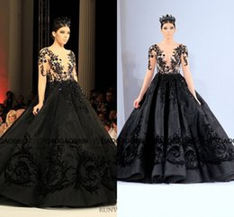 c39dd6043a Michael Cinco 2016 Dubai Arabic Middle East Black Long Formal Evening Gown  Sheer Neck Luxury Detail Long Sleeve Prom Pageant Dresses