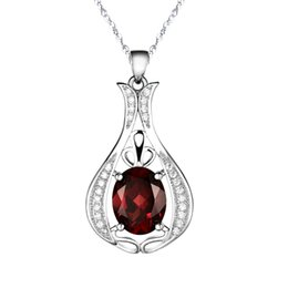 $enCountryForm.capitalKeyWord UK - Wholesale Brand New 925 Sterling Silver with Natural Garnet Pendant with Chain Genuine Wine Red Crystal Necklace for Women Fashion Jewelry