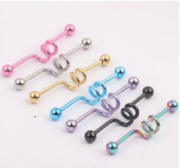 Lip Piercing Wholesale NZ - 1.6*38*5.5mm 7 color unisex Stainless steel Screw rod labret lip piercing jewelry Spring bone nail Two ring shaped tongue nail set puncture