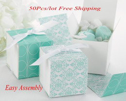 $enCountryForm.capitalKeyWord Canada - (50Pcs lot) Perfect Wedding gift box of Reversible Aqua Damask Wrap Boxes For Wedding and Party Favor box and Candy box
