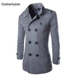Barato Britânico, Estilo, Ervilha, Casaco-Ouekanlysian Double Breasted Coat Homens British Style Stand Collar Slim Fit Long Trench Coat Homens Masculino Wool Pea Coat Manteau Homme