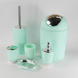 hot sales 6pcs set bathroom accessory set soap dish dispenser tumbler toothbrush holder bathroom accessories sets sale for sale