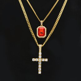 cuban links chain set Australia - Mini Square Gold Red Ruby Pendant Charm Cross Jewelry Full Iced Out Rhinestones Set With 3mm&5mm Cuban Link Chain Necklace
