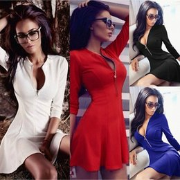 Red White Dresses Canada - Sexy Women Deep V neck Long Sleeve Bandage dress White Black Strap Patchwork Evening Party Prom Winter Dress Spring Red Club Mini Dress