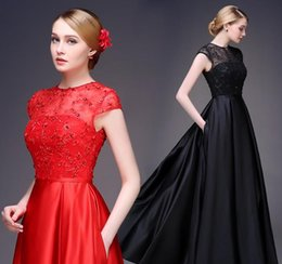 $enCountryForm.capitalKeyWord Australia - Elegant Red Black Lace Short Sleeves Evening Dresses 2015 Sexy A-Line Sheer Jewel Neck Long Prom Dress Formal Women Gowns