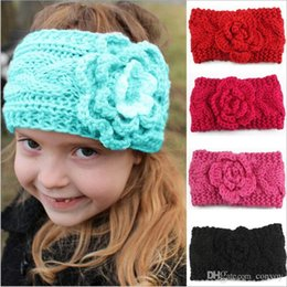 Beanies Braids NZ - Girls Kids Winter Big Wool Crochet Headbands Flowers for Baby European Style Ear Warmers Children Braided Headbows Baby Beanies Cap KHA518