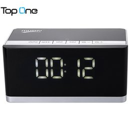Clock For Mobile Canada - Wholesale- MUSKY DY - 27 Bluetooth Speaker LED Display Clock Alarm FM Radio Support AUX TF Card MP3 Player 6000mAh for Mobile Phone PC
