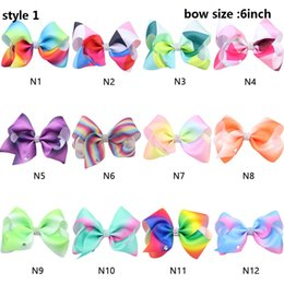large alligator hair clips NZ - DROP SHIPPING 3style available !Ombre rainbow Girls Large Bowknot Hair Bow 6inch Jojo Alligator Clips Ribbon Hair Clip Hair Pins 20pcs