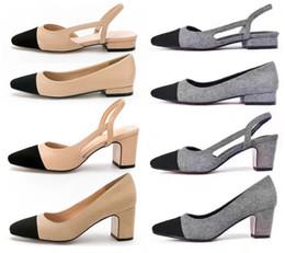 Office bOxes online shopping - Designer Calfskin Women Catwalk Kitten Heels Pumps Slingbacks Sandals Mules Flats Beige Grey Dress Wedding Single Shoes With Original Box