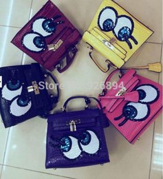 Discount big eyes handbags - Wholesale- New arrival sequined cartoon spoof big eyes platinum quality women's handbag shoulder bag across-body me