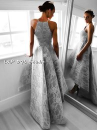 $enCountryForm.capitalKeyWord Canada - 2017 Prom Dresses Hi Lo Asymmetry Grey Satin Prom Dress with Lace Sexy Evening Dress party Gowns Zipper Back Formal Gowns