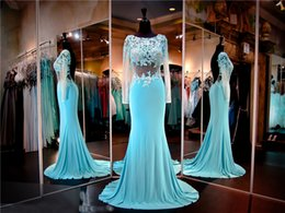 ef23db79650d Turquoise Lace Jersey Formfitting Evening Gown Sheer Long Sleeves Low Back  Prom Dress Mermaid Pageant Dress Party Dress