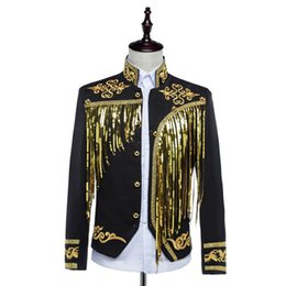 Chinese  Wholesale-Free ship mens bling black white sequined golden silver embroidery stage performance short tuxedo jacket manufacturers