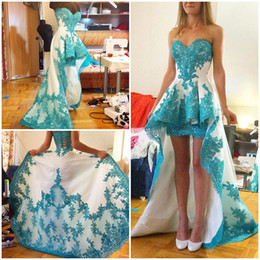 sweet 16 dresses hi lo NZ - 2019 White High Low Prom Dresses With Turquoise Appliques Sweet Heart Sweep Train Short Party Celebrity Gowns Cheap Plus Size Customized