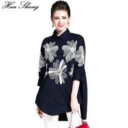 $enCountryForm.capitalKeyWord UK - Cotton Linen Women Embroidery Blouse Elegant Vintage Floral Women Top Loose Irregular Long Shirt Casual Women Clothing