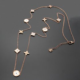 Necklaces Pendants Australia - Titanium steel Rose Gold long Necklaces for women Top Quality Europe and America white Shell four leaf flower sweater chain pendant necklace