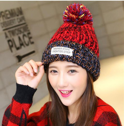 Chinese  Women Winter Warm Beanie Knitting Wool Sports Caps Head Cute Skiing Hat Fashion Snapback Hiphop Hats With Hair Bulb for Ladies Hot Sale manufacturers