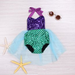Costumes Mignons Pour Noël Pas Cher-Mermaid Baby Rompers pour 2017 Costumes d'Halloween BacklessTutu Style Organza Cute Christmas Vêtements pour bébé Fairy Tale for Infants Bandage Neck