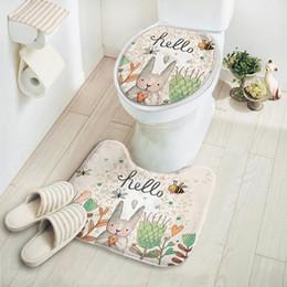 discount round bathroom rug 2 pcs set cartoon rabbit bathroom carpet mat toilet