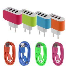 $enCountryForm.capitalKeyWord Canada - Universal US EU Plug 3.1A AC Triple 3 USB Port Wall Home Travel Charger Adapter with V8 cable