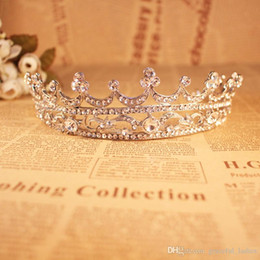 $enCountryForm.capitalKeyWord Australia - Silver Clear Crystal Bridal Crown Tiaras For Brides Large Royal Crown Silver Crown Head Imitation Tiaras Jewelry Rhinestones Crystals