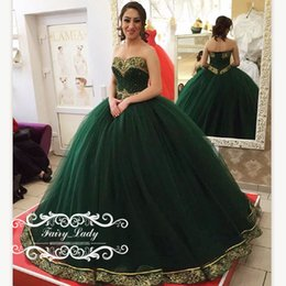 Barato Applique De Casamento De Strass-Luxo Beading Rhinestone 2017 Vestidos Quinceanera Verde Com Ouro Applique Vestido De Baile Sweetheart Girls Sweet 16 Pageant Prom Dress Formal