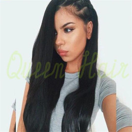 Straight Gluless Lace Front Human Hair Canada - new star top quality lace front wig gluless U part full lace human hair wigs for black women straight middle part natural color