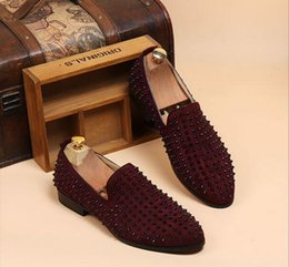 Burgundy Wedding Shoes Canada - Fashion Men's Punk Studded Rivet Spike Suede Pointy Loafer Casual Shoes size 38-43