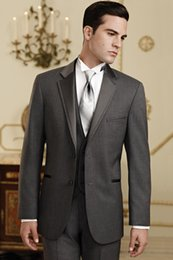 Smokings À Revers Double À Bretelles Pas Cher-Dark Grey Notch Lapel Single-Breasted Groom Tuxedos Groomsman