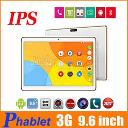 """Cheap 3g Touch Screen Phones Canada - 9.6 inch IPS 3G Phablet Quad Core MTK6580 1GB RAM 16GB (Fake 4GB 32GB) Dual SIM GPS 5MP camera 10"""" Tablet PC T950s + leather case cheap 20"""