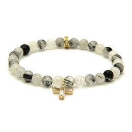 Discount womens gold charm - Wholesale Summer Womens Jewelry 6mm Black Rutilated Quartz Stone beads with Clear Zircons Loyal Cross Cz Bracelets