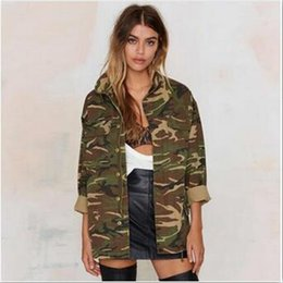 military green women s coat UK - Camouflage Bomber Jacket Women 2017 Spring Coat Stand Collar Button B56284 Loose Pocket Long Sleeve Military Outwear Women Jacket