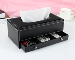 napkin tissues Canada - Wholesale- leather rectangle tissue box holder napkin box dispenser case with drawer black 241A