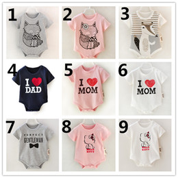 fox romper clothing Canada - INS Summer Infant Romper Fox Kitty Babies Girl Romper Cotton Kids Clothes Baby Girls One-piece Rompers Jumpsuit K7619