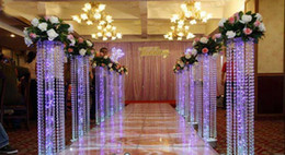 Stand Led Light NZ - 10pcs lot Wedding Crystal Pillar With Acrylic Bead Wedding Road Lead Stand Without LED Light
