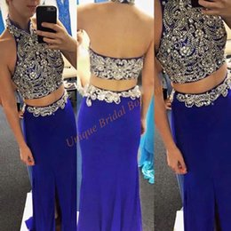 Photos De Robe De Danse Pas Cher-Robes de bal 2017 Deux Pièces avec perles Halter cou et haute de Split Real Side Photos Royal Blue Mousseline Sexy Back Party robes de danse