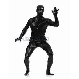 China Wholesale-Adult Mens Faux Leather Metallic Black Bright Full Skin Zentai Cosplay Costume Halloween Suit Bodysuit Unitard leotard cheap black leotard adult suppliers