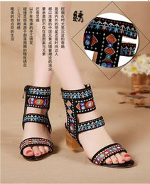 novelty shoe covers Canada - The new spring and summer 2016 with coarse embroidery shoes and sandals with Rome Bohemia shoes female summer cool boots