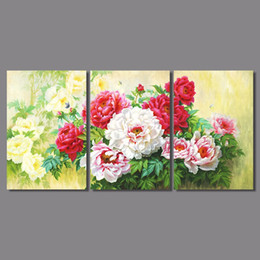 white rose painted red NZ - Luxurious Retro 3pcs flower printed living room Decoration white red peony rose Canvas Painting wall Hanging home decor unframed